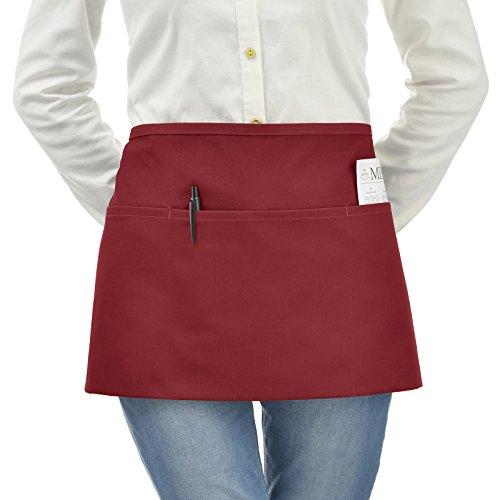 (VEEYOO Waist Apron with 3 Pockets, 1 Pack, Waiter Server Short Half Aprons for Women Men, Waitress Aprons Cotton Short Apron for Kitchen, Restaurant, 24