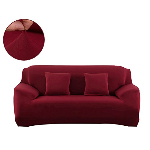 FORCHEER Sofa Covers for Leather Sofa Polyester Slip Resistant Stretch Couch Slipcover Furniture Protector Cover (Sofa, Wine Red)