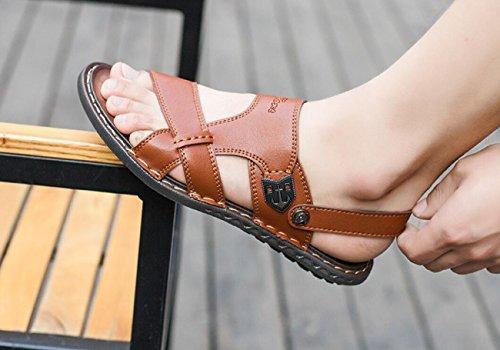 para Playa Suave Libre de de Hombres Brown Zapatillas Zapatillas antidesgaste Antideslizantes al Verano Respirables de Sandalias Aire Cuero c0E6wqtEP