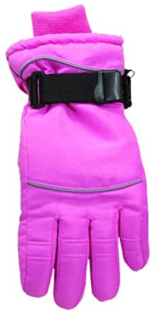 Women Ski Glove with Water Barrier Lining & Thinsulate Insulation (L, Pink)