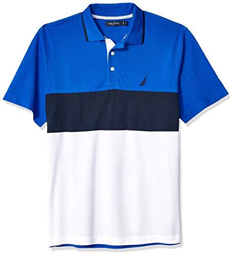 Nautica Men's Short Sleeve 100% Cotton Pique Color Block Polo Shirt, Bright Cobalt, 3X-Large ()