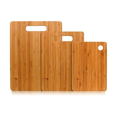 #1 Best Bamboo Cutting Board Set. A Set of 3 Chopping Boards with Large Cutting Room. Strong Wood Cutting Boards Are Durable and Light Weight By Premium Bamboo®