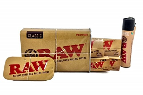 Raw Sliding Tin Bundle with 2 Packs Raw Natural 1 1/4 Rolling papers, 2 Packs Raw Tips and Raw Clipper Lighter