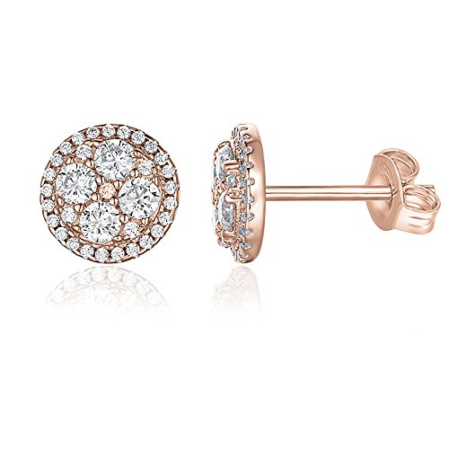 PAVOI 14K Gold Plated Sterling Silver Post Round Cluster CZ Simulated Diamond Stud Earrings - Rose