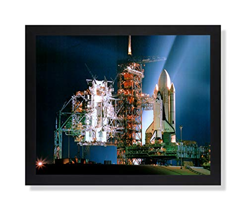 Solid Wood Black Framed NASA Space Shuttle Night Photo Pictures Art Print