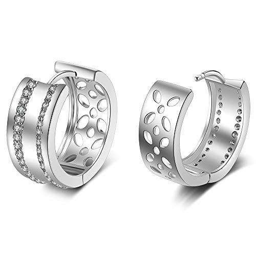 XZP Cutout Cubic Zirconia Hoop Earrings Hypoallergenic Huggy Earring for Women ()