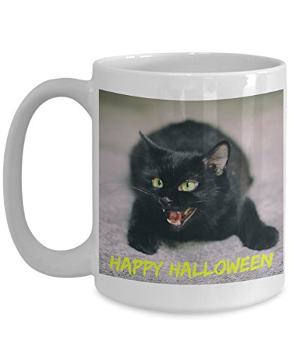 Happy Halloween Black Cat Spooky Eyes Trick or Treat White Ceramic Coffee Cup Mug -