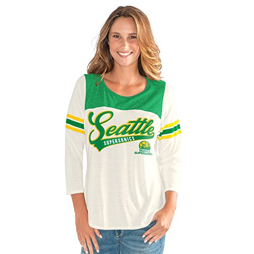 GIII For Her NBA Seattle Supersonics Women's End Zone 3/4 Sleeve Tee, X-Large, Vintage White