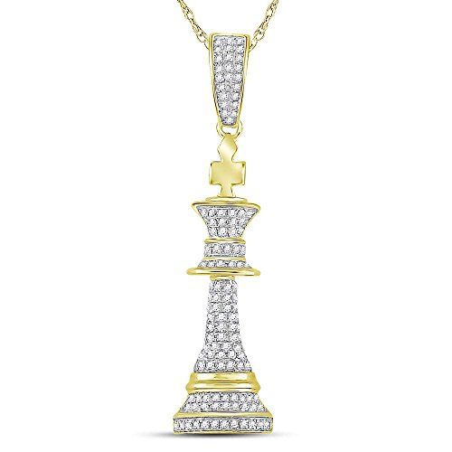 10kt Yellow Gold Mens Round Diamond King Chess Piece Charm Pendant 3/8 Cttw (I2 clarity; I-J color) by Jewels By Lux