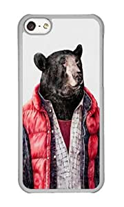 Apple Iphone 5C Case,WENJORS Cute Black Bear Hard Case Protective Shell Cell Phone Cover For Apple Iphone 5C - PC Transparent