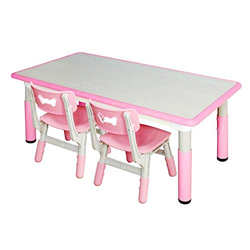 XUERUI Household Table Chairs Set, Kids Furniture, Adjusted Height Activity Desk Playing Studying Bedroom Playroom Kindergarten Durable (Color : Pink, Size : 1 Table+2 Chairs)