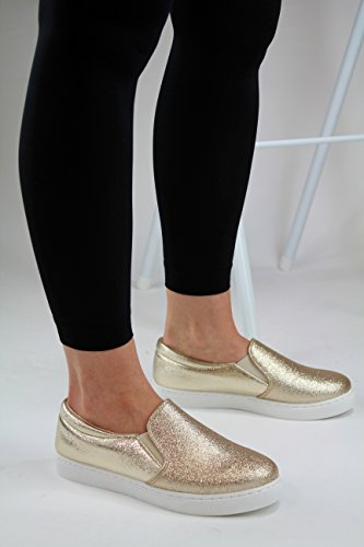 On Pumps Womens Slip Flat Sneakers New Trainers Casual Comfy Gold Xfg0n44WY