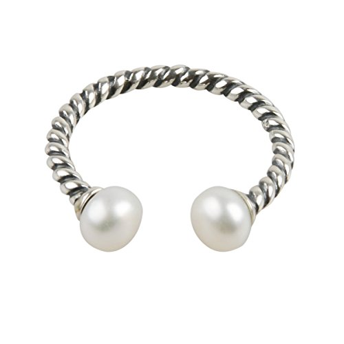TQS Charm Rings Silver plated Twisted Antique Adjustable Open Ring With Simulated Pearls Size: 6-8 for Women (Pearl Rings Unique)