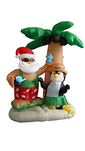 7 Foot Inflatable Santa Claus & Penguin on an Island w/ Palm Tree (Decorations Claus Santa Outdoor)