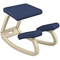 Varier Variable Balans Original Kneeling Chair Designed by Peter Opsvik (Dark Blue Revive Fabric with Natural Ash Base)