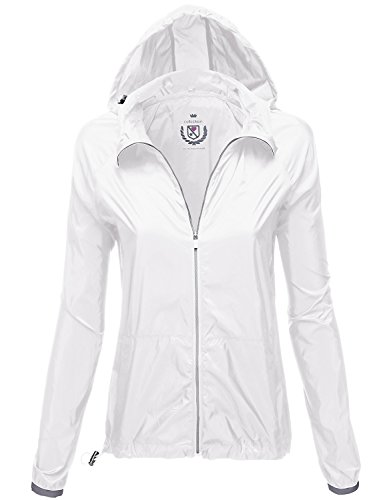 Water Resistant Kangaroo Pocket Rain Jackets, 115 - White, US M, 115 - White, Medium