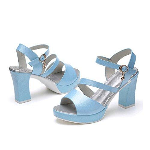 Chaussures de Cheville Robe Plate Sandales Ouvert Casual épais Haut Bas Bleu Orteil Wedge Talon Femmes Forme wqzHTB