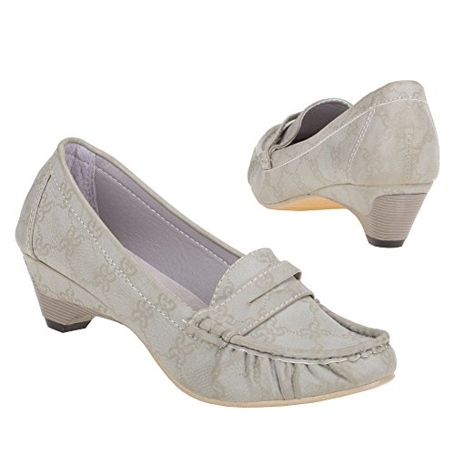 Ital-Design Damen Schuhe, HY12-5, Halbschuhe Grau