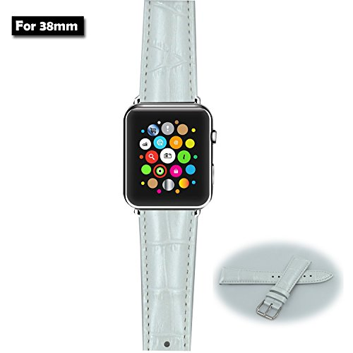 MOTONG New Genuine Leather Replacement Strap for 2015 Apple Watch,38mm Classic Buckle&Modern Buckle with leopard print(Fulfilled by Amazon)(White)