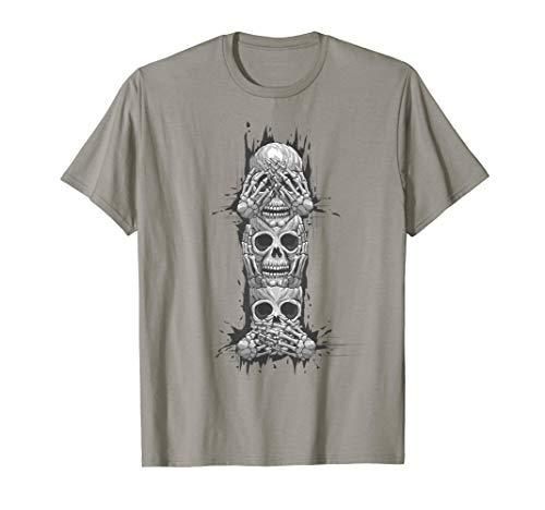 Hear No Evil See No Evil Speak No Evil, Skull Art T-Shirt