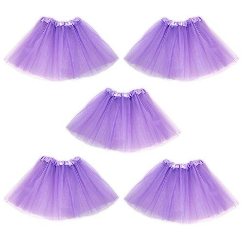 Tutu Ballet Skirt, Bulk 5 Pack, Princess Party Costume Favors (Light Purple) by Princess Party Girl Tutu's