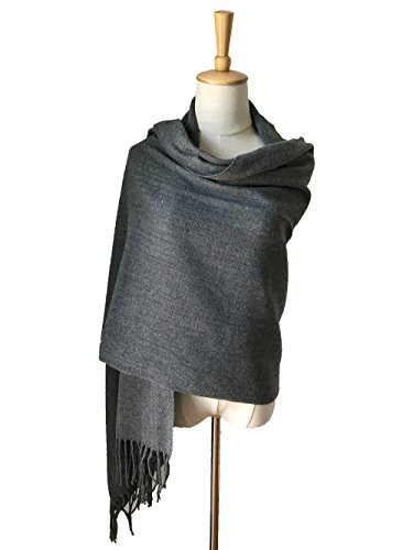 JOSENI Solid Color Pashmina Blanket Scarf Large Winter Wrap Shawl for Women Men (Cashmere Silk Knit Tie)