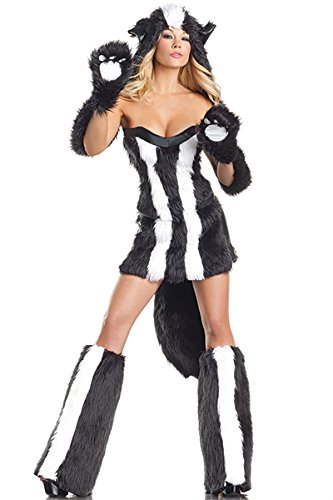 Be Wicked Sassy Skunk Costume, Black/White, Small/Medium (Skunk Costume Adult)