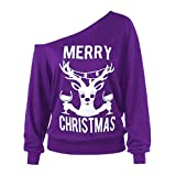PLENTOP Women Long Sleeve Off Shoulder Marry Christmas Print Holiday Sweatshirts