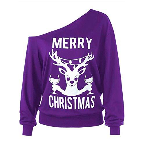 Limsea Clearance Sale! Women Off Shoulder Slash Neck Marry Christmas Print Long Sleeve Holiday Sweatshirts(Purple,Large) ()