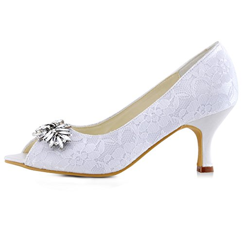 ElegantPark HP1538 Mujer Tacón Medio Zapatillas Peep Toe Rhinestone Zapatos Clips Cordón Zapatos De Boda Blanco