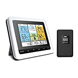 Sotical Weather Station, Digital Indoor Outdoor Thermometer Hygrometer Barometer Wireless Weather Forecast Station with Remote Sensor, Humidity Monitor, Alarm Clock, Time Readings, Calendar