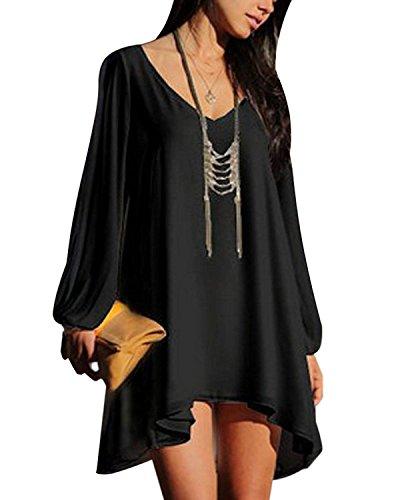 Casual Mujer De Vestido Cuello De Playa Verano Fiesta Vestido Moda V Vestido Negro Minetom B5nWpcSc