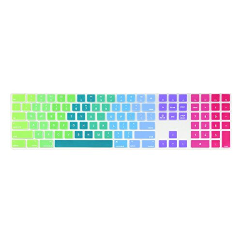 TOP CASE - Ultra Thin Silicone Soft Keyboard Cover Compatible with Apple Magic Keyboard with Numeric Keypad Model: MQ052LL/A A1843 (US Layout, 2017 Released) - Rainbow