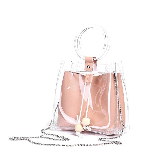 Tote Pink Straw Handbags - Barabum Classy Waterprof Clear Tote Beach Shoulder Crossbody Bag