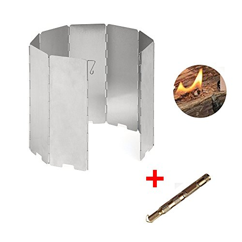 Aluminum 8 Plates Windscreen Camp Stove Windshield, Flint Fire Starter Included,Split Cooking Range Wind Shield Portable Picnic Gas Stove Wind Deflectors by ezyoutdoor