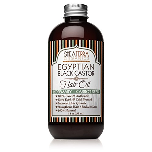 Shea Terra Organics Egyptian Black Castor Oil for Hair Growth – Rosemary & Carrot Seed - All Natural Hair Treatment -...
