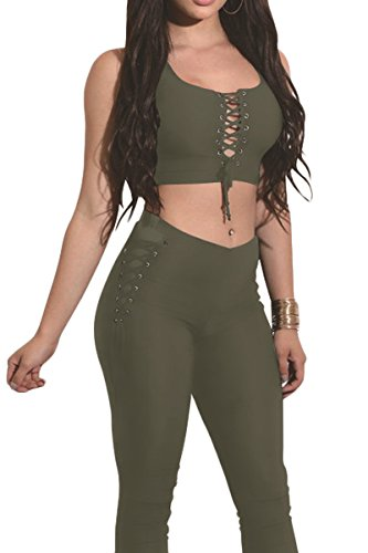 Sexy Military Outfit (Almaree Ladies Sexy 2pc Outfit Cropped Top + Skinny Pants Jumpsuit Clubwear Army Green XL)
