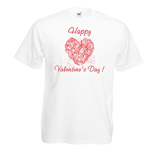 T shirts for men Happy valentines day - I love you quotes (XX-Large White Multi Color) (Hello Sexy In Spanish)