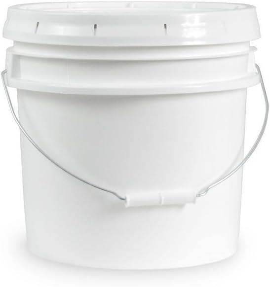 3.5 Gallon White Bucket & Lid - Durable 90 Mil All Purpose Pail - Food Grade - BPA Free Plastic (3.5 Gal. w/Lid - 1pk)