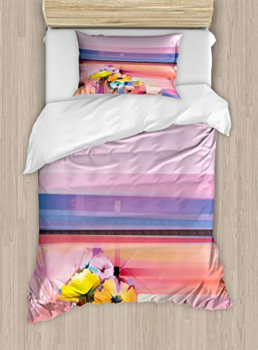 Ambesonne Gerber Daisy Duvet Cover Set, Abstract Fine Art with Summer Nature Flowers Colorful Lays Creative Artwork, Decorative 2 Piece Bedding Set with 1 Pillow Sham, Twin Size, Multicolor