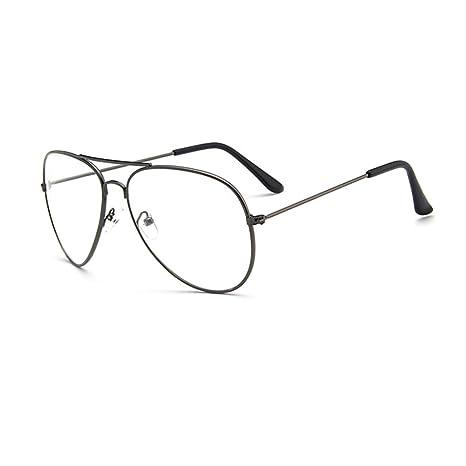 YUNCAT Metalique Cadre Frame Lunettes Vintage Verres Transparent Style  Aviateur Pilote Eyeglasses pour Homme et Femme dafa3de76f9f