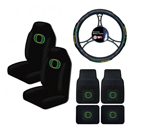 A set of 7 Piece Automotive Gift Set: 2 Front and 2 Rear All Weather Floormats, 2 Highback Seat Covers, and 1 Wheel Cover - Oregon State Ducks -