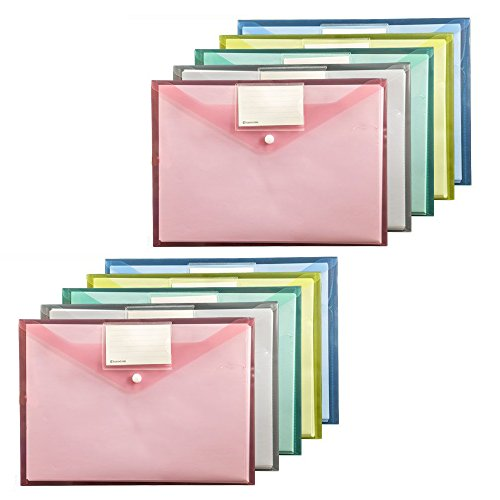 Zip File Folders, Pyhot 10pcs A4 Button Plastic Document File Bags Storage Pouch with Index Name Tags, Pen Holder Hole for Cosmetics Offices Supplies Travel Accessories, 5 Colors