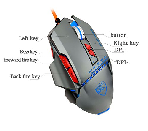 Dollermy Gaming Mouse 3200 DPI 8 Buttons USB Wired LED Optical ,Aluminum Alloy Base(4 Colors Breath LED Backlight) - Microsoft 4000 Wireless Keyboard