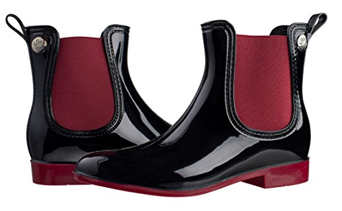 Elastic Rain Toes Women's Boots Red Short Slip On Silky Fashion q41txwBUF