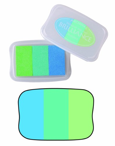 Tsukineko Brilliance 3-Color Pigment Inkpad, Peacock-Pearl Jade,pearl Lime,pearl Sky (Pearl Stamp Pad)