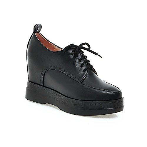 Materiale Amoonyfashion Rotonda Delle Lacci Chiusa Talloni Con Solidi Punta Donne Cunei Nere Pompe Morbido scarpe qpxBHnZ