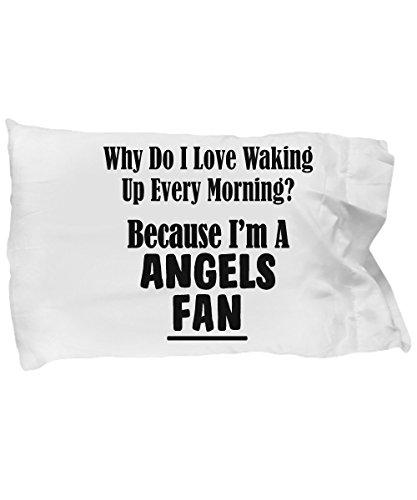 mmandiDESIGNS Angels Fan Pillowcase - Love Waking Up Every Morning – Baseball Team Sports Gift - 20x30 Microfiber Pillow Case - Nfl Mvp Pillow