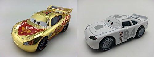 [해외]???Hand Mate Cars Toys Pixar 1:55 Scale Diecast Gold Chrome McQueen & No.84 Apple Icar Metal Toy Collectors / ???Hand Mate Cars Toys Pixar 1:55 Scale Diecast Gold Chrome McQueen & No.84 Apple Icar Metal Toy Collectors