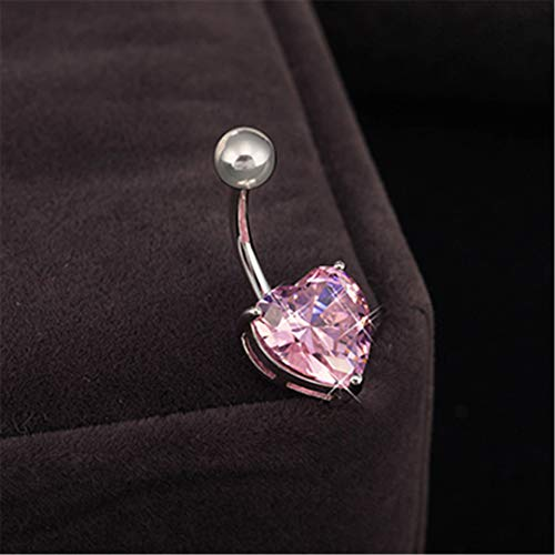 Wholesale 6 Color Crystal Trendy Ball Navel Ring Stainless Steel Piercing Belly Button Rings Body Summer Style Women Pink